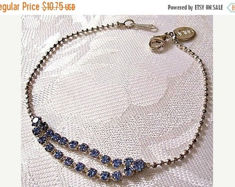 ON SALE Blue Austrian Crystal Bracelet Silver Tone Vintage Icing Hangtag Double Rows Round Metal Bead