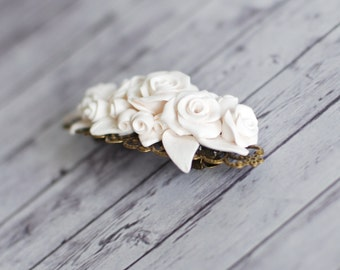 Hair barrette, hair pin, flower clip, bridal hair accessories - white wedding barrette flowers bridesmade vintage looking