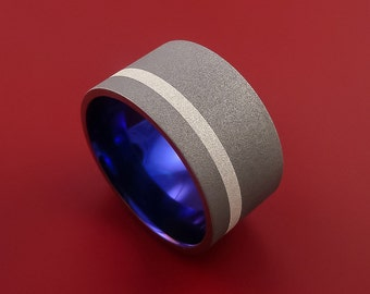 Wide Titanium Anodized Ring Classic Style with Silver Inlay Wedding Band