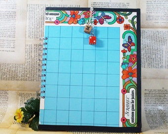 Childrens Scrabble Journal, Upcycled Vintage Game Board, Blank Journal, Notebook, Sketch book
