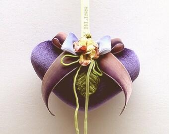 Purple Velvet  Heart Sachet with Velvet Flowers