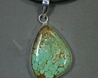 Turquoise and sterling # 8 mine pendant,  JS-pd-034