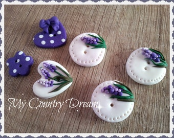 "Handmade Buttons ""Incanto"" - polymer clay buttons."