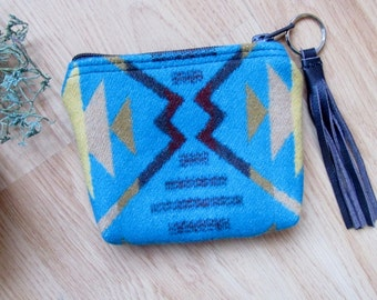 Medicine Bag, Totem Pouch, Coin Zippered Change Purse  Coyote Butte Turquoise Southwest Pattern 5.25 x 4.25