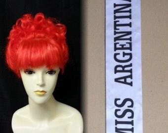Beetlejuice Miss Argentina wig and sash