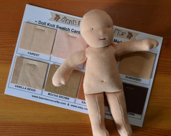 Doll Knit Swatch Card - Free Shipping Canada or USA