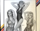 Vintage 90s Halter Swimsuit Pattern Stretch and Sew 1369 Bust size 30 to 46