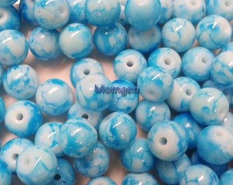 8mm Multicolored Mottle Round Glass Beads, Glass Beads, 8mm Beads, Beads for jewelries, Mottle glass beads, Beads,blue  Beads