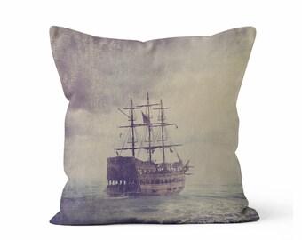 Ghost Ship Tall Ship Decorative Throw Pillow Case w/optional insert - Ghost Ship/ Tall Ship/ Nautical/ Tall Ship/