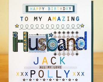 Husband birthday card. Special & Personalised for Husband Male/Man birthday card. Hubby/Partner