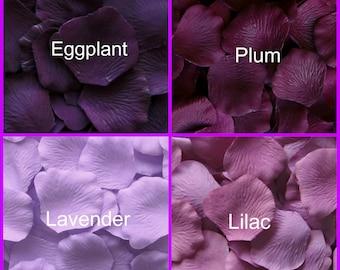 Silk Rose Petals 500 Eggplant Plum Lavender Lilac - Purple Shades Wedding Decorations