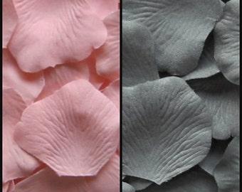 Silk Rose Petals 300 Blush Pink 200 Slate Grey Gray Wedding Decorations Flower Girl Basket
