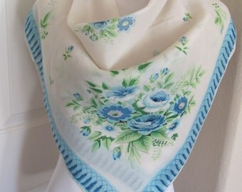 "SALE! Beautiful White Blue Floral Silky Rayon Scarf // 31"" Inch 78cm Square"
