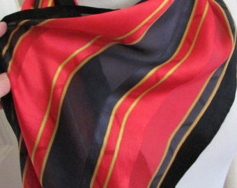 "Crazy Horse // Lovely Black Red Silk Scarf // 12"" x 58"" Long // Best of the Best"