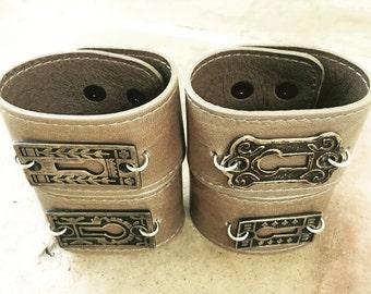 Unisex Vintage/Antique Keyhole Leather Cuff