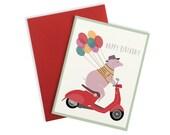 Happy Pig Birthday Card