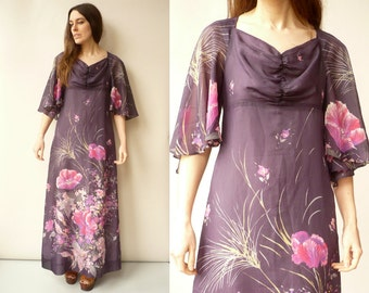 1970's Vintage Floral Flutter Sleeve Chiffon Maxi Dress Size Small