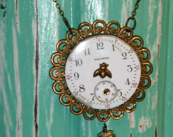 Bee  on Time Vintage pocket watch face necklace