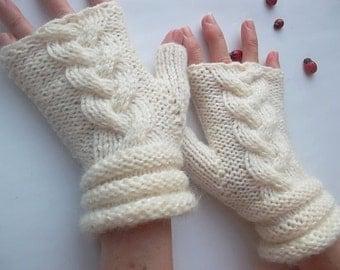 HAND KNIT GLOVES / Women Accessories Fingerless Mittens Elegant Warm Wrist Warmers Arm  Crochet Winter Feminine Romantic Cabled Striped 1047