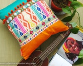 Orange Turquoise Pillow - Ethnic Colourful Aztec Cushion Cover 16x16
