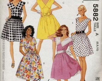 Vintage Misses' Dress in Two Lenghs With Detachable Pettitcoat Plus Belt and Sash Sewing Pattern - McCall's 5882 - Size 6-8-10 - UNCUT