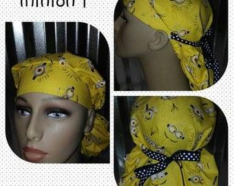 Minion scrub hat with ribbon