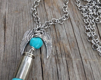 Turquoise bullet casing necklace boho cowgirl rustic jewelry Jo'ellie necklaces Christmas cowgirl gift bohemian western hunter girl necklace