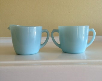 Fire King Ware Creamer  and Sugar Set in Blue