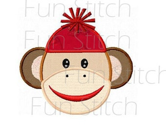 sock monkey applique machine embroidery design