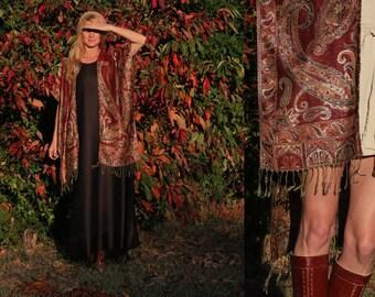 Cashmere & Silk Kimono Jacket Shawl Poncho Bohemian Hippie Chic Handmade Accessory One Size S M L XL Plus Reversible . Choose color / print