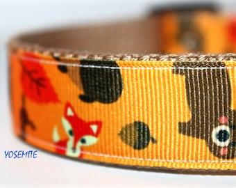ON SALE - Woodland Dog Collar, Wildlife Dog Collar, Adjustable Dog Collar, Forest Animal Dog Collar, Fox Dog Collar, Deer Dog Collar