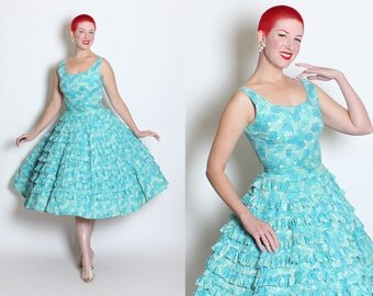 DARLING 1950's New Look Turquoise Cotton w Novelty Leaves Print Sun Dress & Matching Belt by Susan Ross - Tiered Ruffle Circle Skirt - M