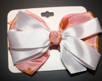 Shimmery Pink and White Bow