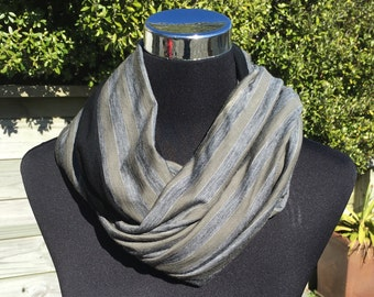 Merino wool infinity scarf, neck warmer, cowl, circle scarf in olive green, grey and black