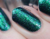 "Nail polish - ""Carve my Initials"" green to purple multichrome flakes in a teal base"