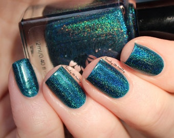 "Nail polish - ""Fixed Course"" Teal green linear holographic polish"