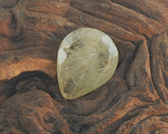 Gold Rutilated Quartz faceted pear cut untreated natural gemstone 30 cts