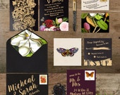 Wedding Invitation Suite: (Winter, Floral, Black and Gold, Fruit, Butterfly, Moth, Bees, Gold, Dark) Dark Floral Winter Wedding DIGITAL