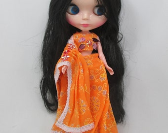 Handcrafted Blythe Outfit Traditional Indian Sari Dress # 07
