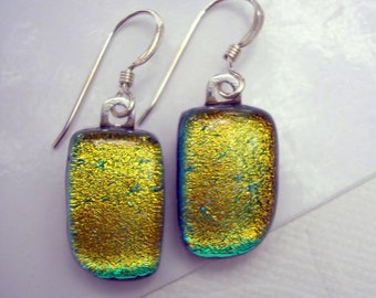 Green Gold Shimmering Dichroic Glass Earrings Hand Shaped 925 Sterling Silver Iridescent Emerald Fused Glass Jewelry Dichro Dangle Drop Art