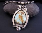 Nueva Azteca Grande Royston Turquoise Sterling Pendant