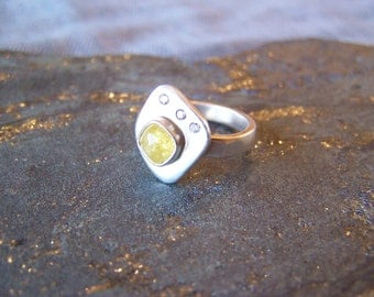 Yellow Diamond Ring in Sterling Silver Size 6 3/8 READY TO SHIP