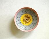 Ceramic Pink and Yellow Polka Dot Jewelry Bowl