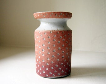 Ceramic Pink to Mauve Gradated Cinched Vase