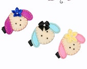 Diva Puppy Hair Clips Set of 3...Girls Hair clips...No Slip Grip Available