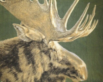 Moose in the Woods Fleece Throw Cover - This Blanket is Ready to Ship Now