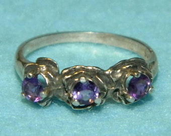 Three Rose Beautiful Amethyst ring SIZE 7.5 solid Sterling Silver .925