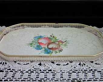 Vintage 1940s Rectangle Vanity Tray,  Brass and Metal - Bath or Boudoir Tray - Shabby  Decor Handpainted Tray - Collectable - Chic Cottage