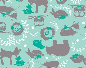 Aqua Green and Grey Forest Animal Toile Flannel, 1 Yard