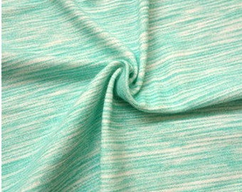 Mint Green Space Dyed Brushed Poly Spandex Knit, 1 Yard